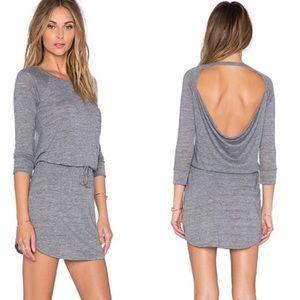 Chaser Drape Back Shirttail Pocket Dress Gray